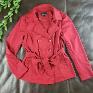 Forever 21 Belted Pea Coat sz L Dark Red